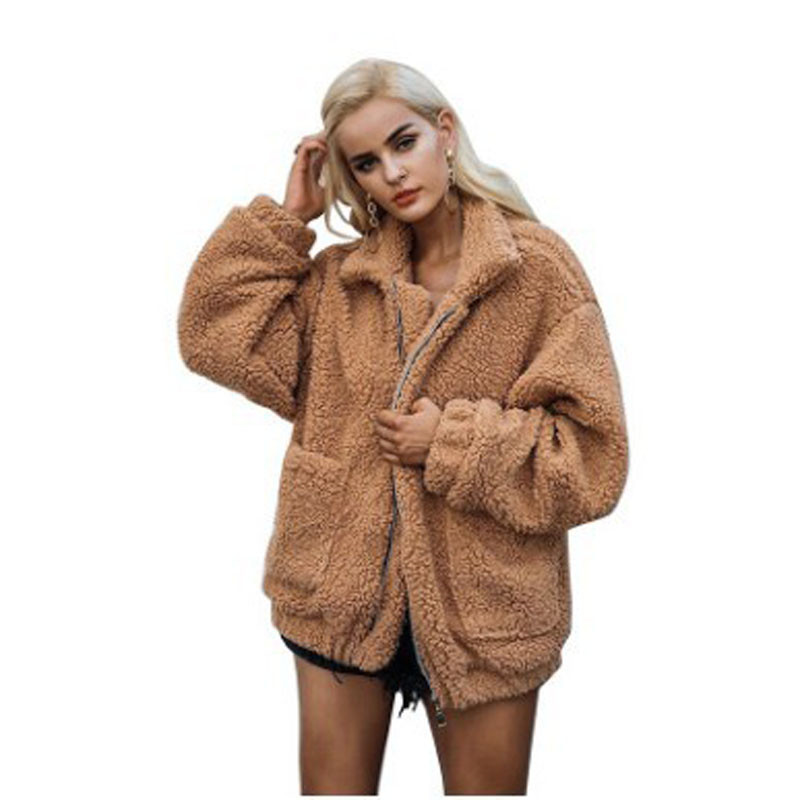 Focal20 Faux Fur Coat Women Autumn Winter Fluffy Teddy Jacket Coat Plus Size Long Sleeve Outerwear Turn Down Short Coat Female