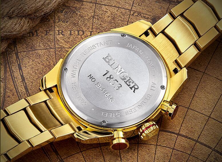 BINGER Relógios Homens Marca De Luxo Safira Ouro 50m Esporte Masculino Relógio Relógio de Quartzo de Aço À Prova D' Água de Negócios erkek kol saati - 6