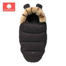 Thicken Baby Stroller Sleeping Bag Envelope Winter Warm Footmuff Newborn Swaddle Sleepsacks with Fur Collar