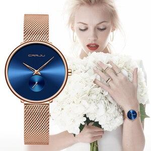 Image 2 - Moda kadınlar İzle lüks CRRJU rahat basit bayanlar günlük elbise örgü kol saati Minimalist su geçirmez kuvars kadın saat