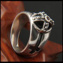 Battle Cap Cross S925 Sterling Silver and Silver Inlay Black Onyx Fashion Style Japanese and Korean Silver Rings(China)