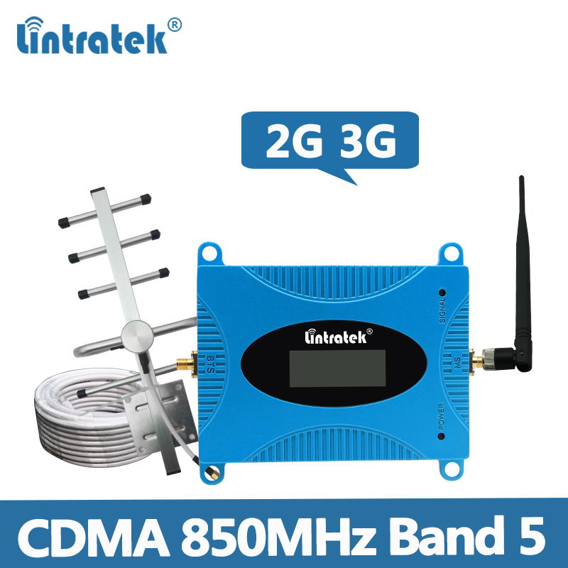 Lintratek CDMA 850MHz Repeater GSM 2G 3G Signal Booster Band 5 850MHz Cellphone Amplifier Repetidor 65dB For South America