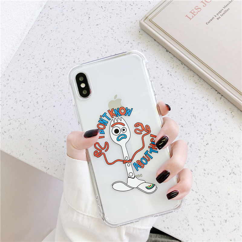 Forky <font><b>Toy</b></font> <font><b>Story</b></font> doll silicone soft case for 11 <font><b>iPhone</b></font> 11Pro <font><b>funda</b></font> <font><b>iPhone</b></font> X XS MAX XR 6 Plus 7 8 clear expression anti-fall cover image