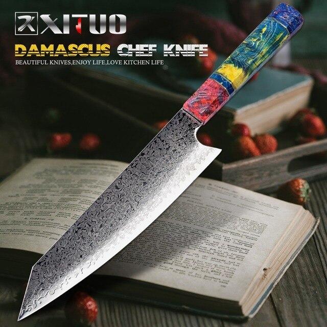 XITUO-Cuchillo para cocina, utensilio para Chef Nakiri de 67 capas en madera solidificada elaborado con acero japonés damasco, madera solidificada HD, 8 pulgadas 1
