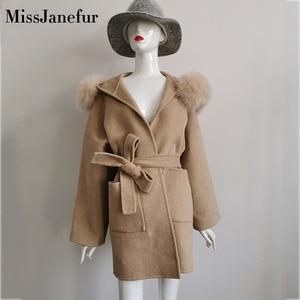 Image 4 - Cashmere Jacket Women Ladies Hand Made Women Fox Fur Collar Wool Coat Casual Winter Wool Jacket Woolen Overcoat Cashmere Coat