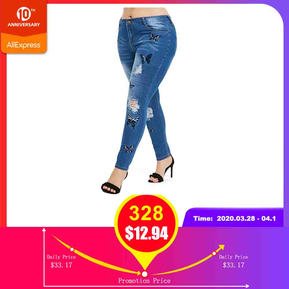 ROSEGAL Plus Size Butterfly Distressed Embroidered Jeans Pants Women Skinny High Waist Pencil Pants Denim Jean Ladies Trousers