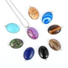 Natural Gem Stone Pendant Necklace For Men Women Oval Onyx Lapis Lazuli Pink Crystal Pendants 18 Neck Chain Fashion Jewelry stylish rhinestoned fake crystal oval necklace for women