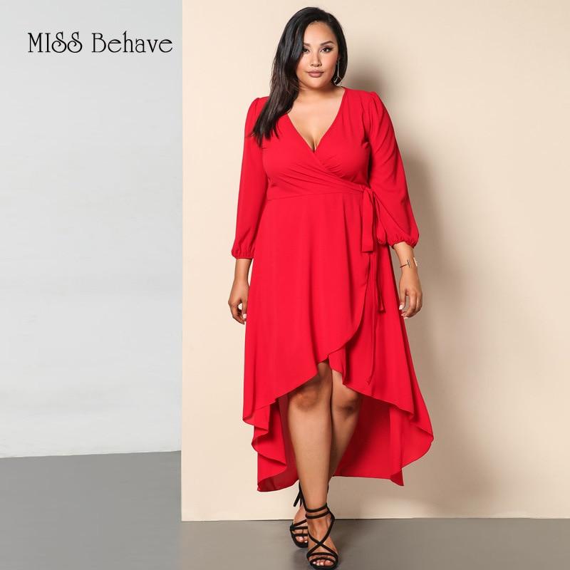 2019 Large Size Dress Li Fu Kuan V-neck Knit Long Sleeve Irregular Lace-up Dress