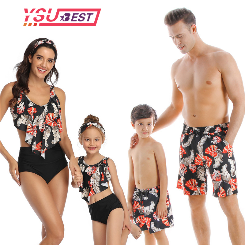 Bikini Beach Shorts Family Swimsuit Mommy And Me Clothes Swimsuit Mom Outfits Look Mother And Daughter Family Matching Swimwear