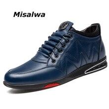 Misalwa inverno quente de pelúcia masculino sapatos casuais de couro rachado alto topo tornozelo botas de renda up lazer confortável sapatos masculinos azul preto