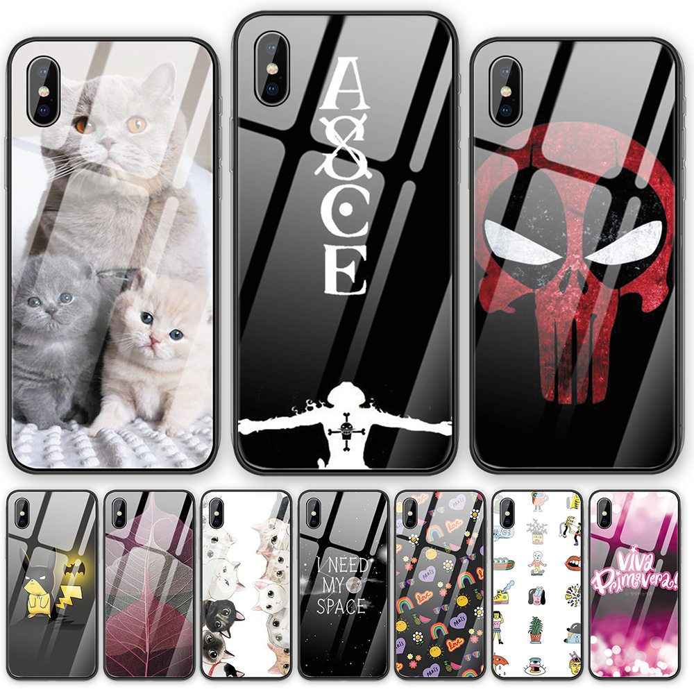 Animal Leaves Tempered Glass phone case For iphone 5 5S SE 6 6S 7 8 Plus X XS XR XSMAX 11 Pro Max Anime TV show back cover shell image