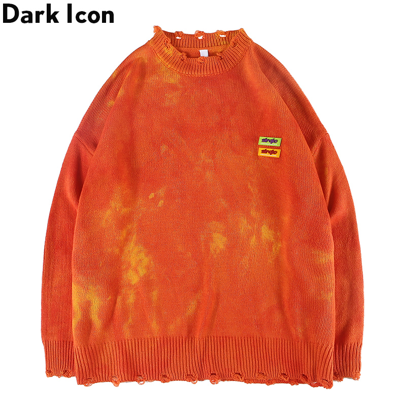 Dark Icon Destroyed Tie Dyeing Hip Hop Sweater Men 2019 New Fashion Round Neck Men's Sweater Oversized Sweaters For Man