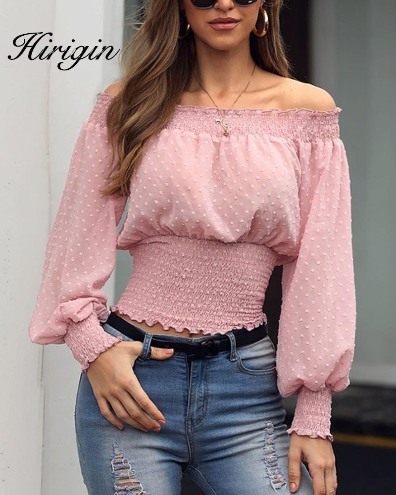 2019 Autumn Chiffon White Blouse Shirt Off Shoulder Crop Top Long Sleeve Blouses Ruffles Solid Sexy Blusa Mujer