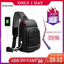 "EURCOOL Men Chest Bag for 9.7"" iPad USB Backpack Charging Short Trip Messenger Bags Water Repellent Crossbody Shoulder Bag n1901"
