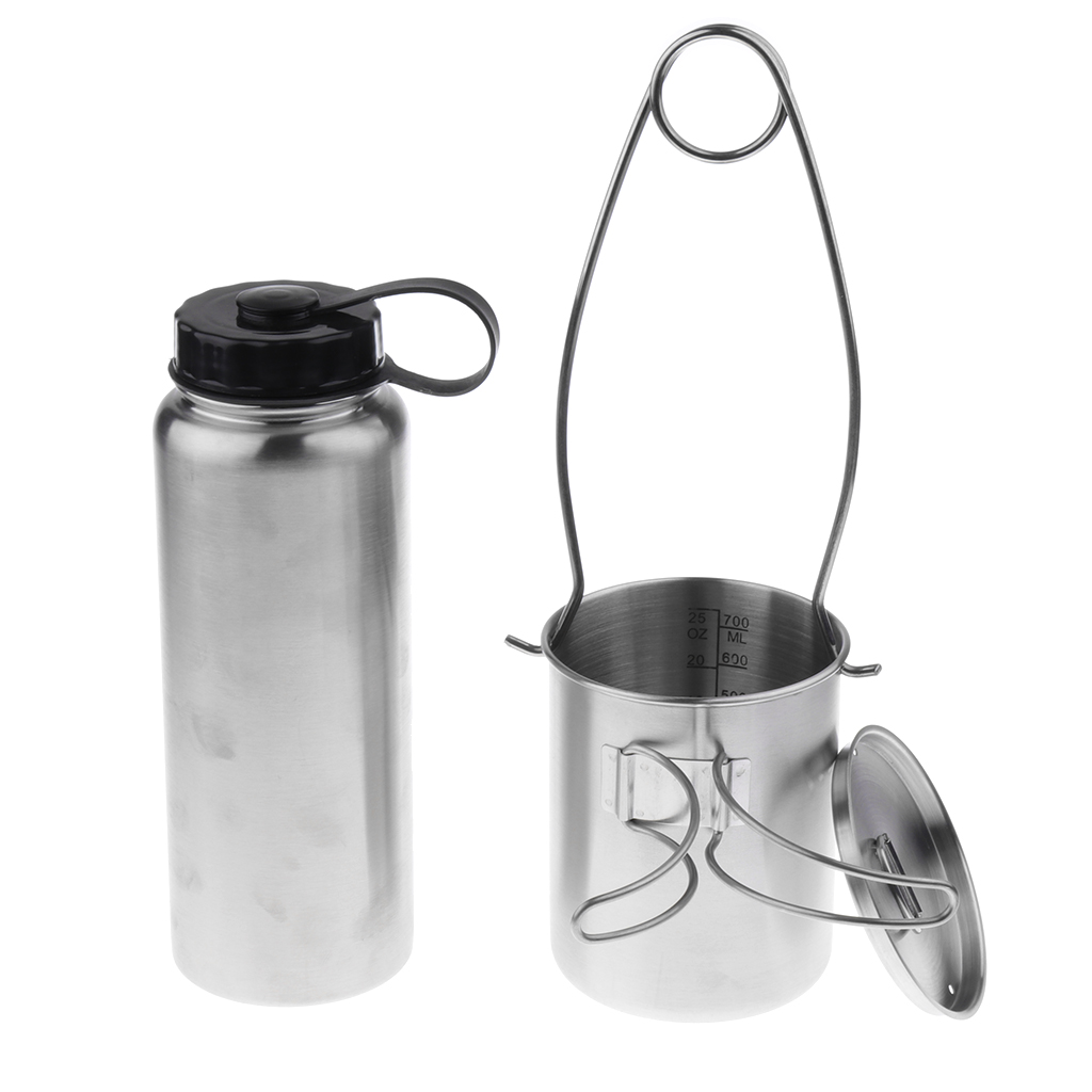 Stainless Steel Leak Proof 1L Water Bottle + 750ml Foldable Cup + Mouth Spreader Hanger + Storage Bag
