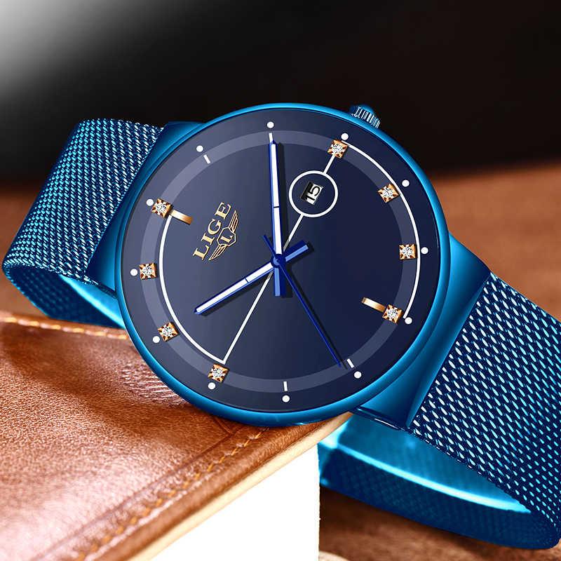 2019 nuevo reloj de cuarzo con correa de malla de color azul y LIGE, relojes para hombre, reloj Sprot resistente al agua de lujo, reloj Masculino