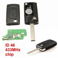 433 MHz 2 Buttons Remote Key with ID46 chip for Peugeot 107 207 607 307 308 New Listing