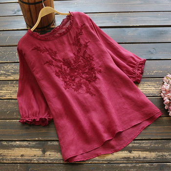 100% Cotton Women Casual Blouses Shirts New 2020 Summer Fashion Half Sleeve Embroidery Female Loose Tops Shirts Plus Size P282 2