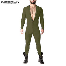 Rompers Men Jumpsuit Pajamas Overalls Homewear Long-Sleeve INCERUN Fitness Solid Button-Up