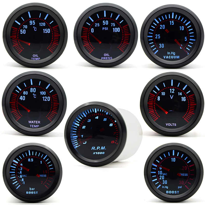 2/'/' 52mm LED Boost BAR//PSI Oil//Water Temp Pressure RPM Tachometer Volt Gauge 12V