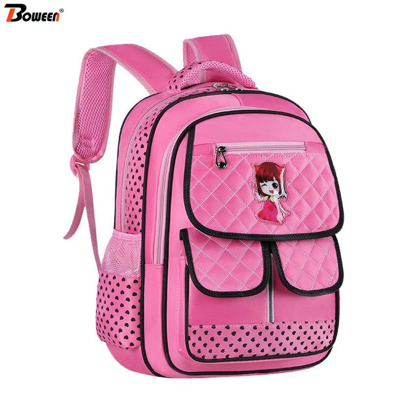 Orthopedic Children School Bags Girls Primary School Backpack Princess Schoolbag Large Capacity Waterproof Bookbag Grades 1-3-6