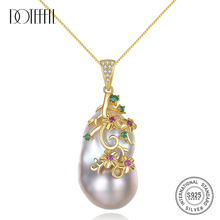 DOTEFFIL Real 925 Silver Pearl Necklace Natural Freshwater Pearl Shaped Baroque Pendant Necklace Pearl Jewelry Party Women Gift
