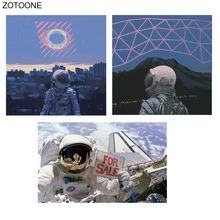 ZOTOONE City Astronaut Patches Space Sticker for Kids Iron on Transfers Patch Clothing T-shirt Diy Heat Transfer Appliques E