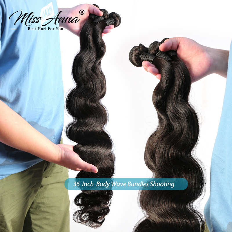 Missanna Indiase Raw Virgin Menselijk Haar Body Wave Weave Bundels 8 32 36 40 Inch 100% Virgin Human Hair Weave bundels
