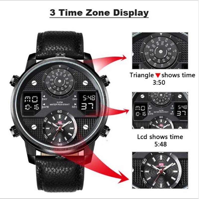 Japan Movement Large Dial Diameter 50mm LED Digital+ Quartz Sport  Luminous Chronograph Man Military Dual Display Watch