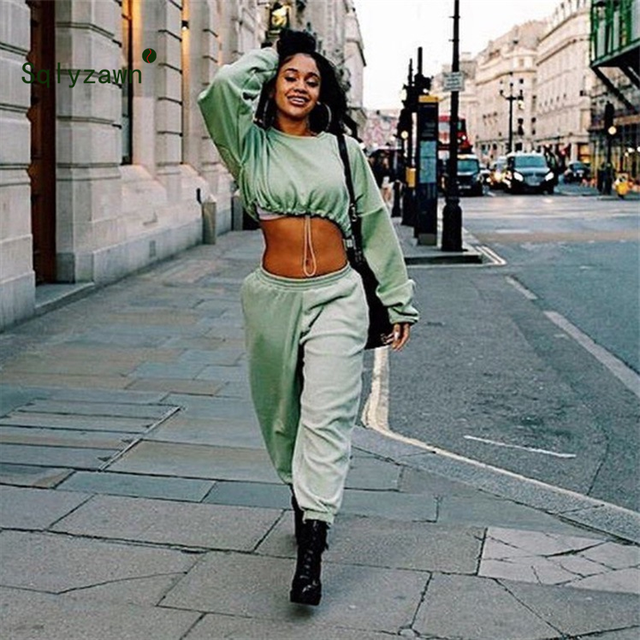 2 pezzi Set Set Felpa Autunno Abbigliamento Sportivo Delle Donne di Grandi Dimensioni Solido Tuta Pantaloni Della Tuta Set Casual Vestito Femminile Brevi Felpe 3