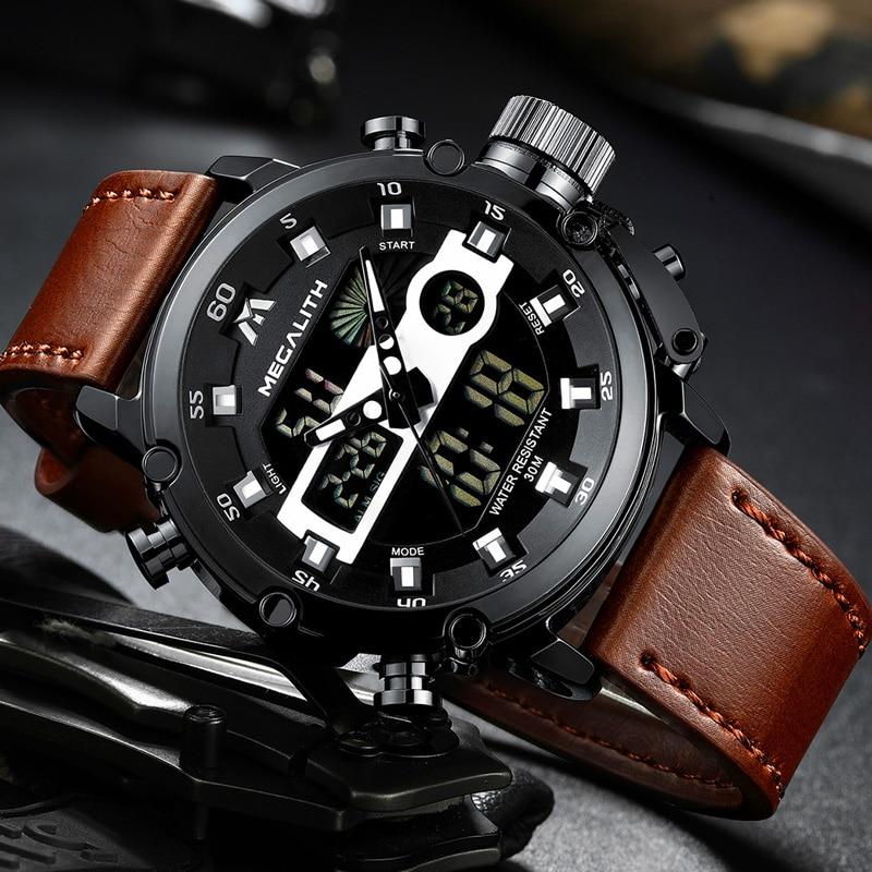 MEGALITH Quartz Wristwatches 8051 Masculino Waterproof Sport Relogio Dual-Dispay Luminous