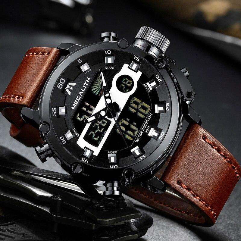Relogio Masculino 2020 MEGALITH Men's Dual Dispay Watch Men Multifunction Waterproof Luminous Sport Quartz Wristwatches Men 8051