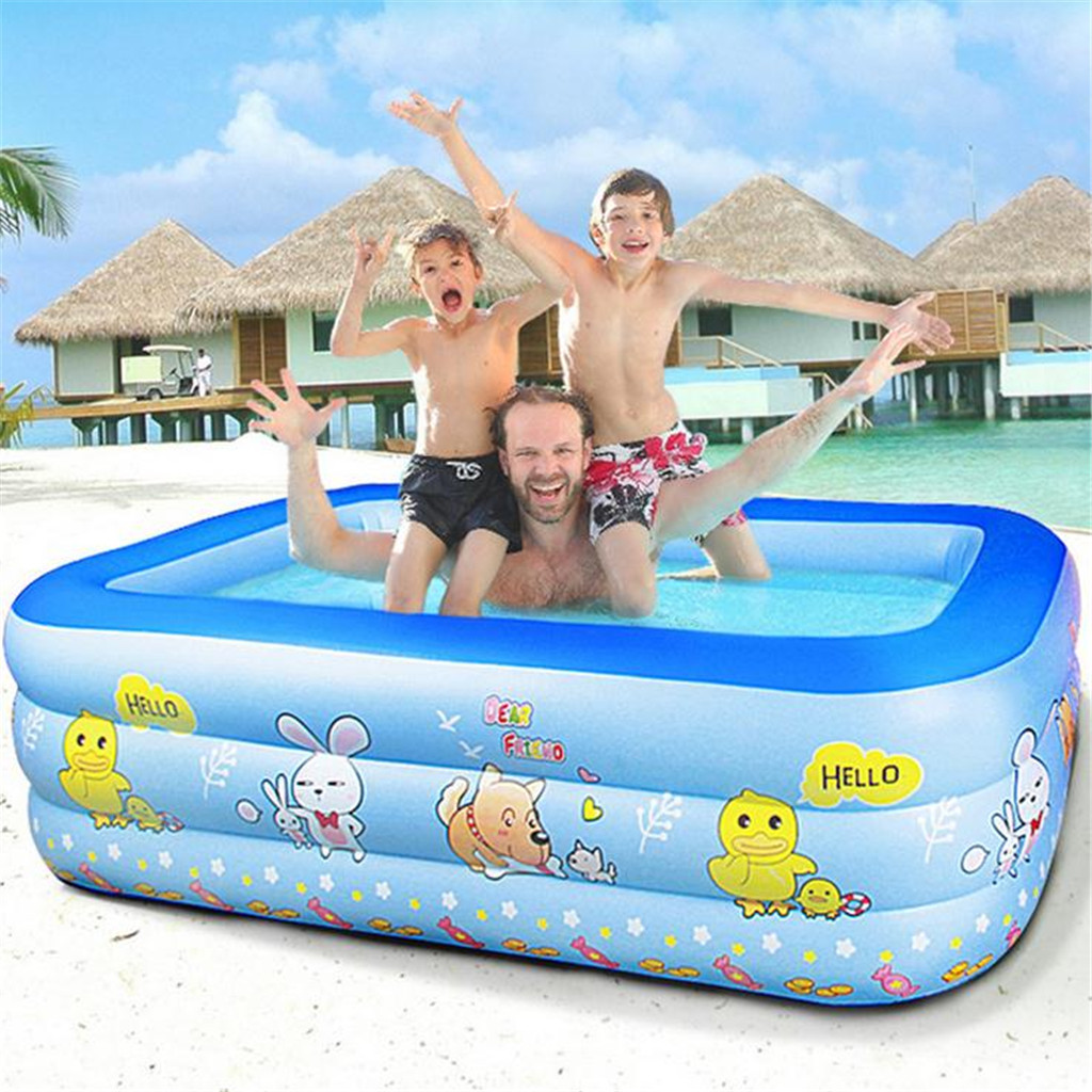 Купить с кэшбэком 105x90cm Kids inflatable Pool High Quality Children's Home Use Paddling Pool Large Size Inflatable Square Swimming Pool for baby