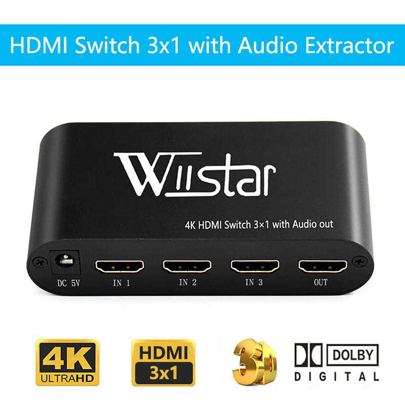 Wiistar HDMI Switch 4K 3 In 1 Out Optical 3.5mm Audio Out Supprot AC3/DTS/Dolby Decoder Hdmi Audio Extractor Free Shipping