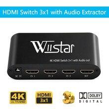 Wiistar hdmi switch 4k 3 em 1 para fora óptico 3.5mm áudio para fora supprot ac3/dts/dolby decodificador hdmi extrator de áudio frete grátis