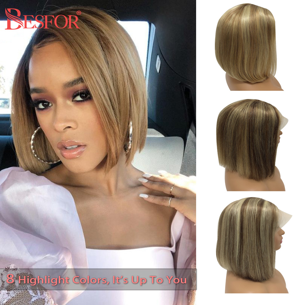 Ombre Lace Front Human Hair Bob Wig Cheap Short Straight Highlight Blonde Middle Part Brazilian Remy Hair Lace Frontal Wigs