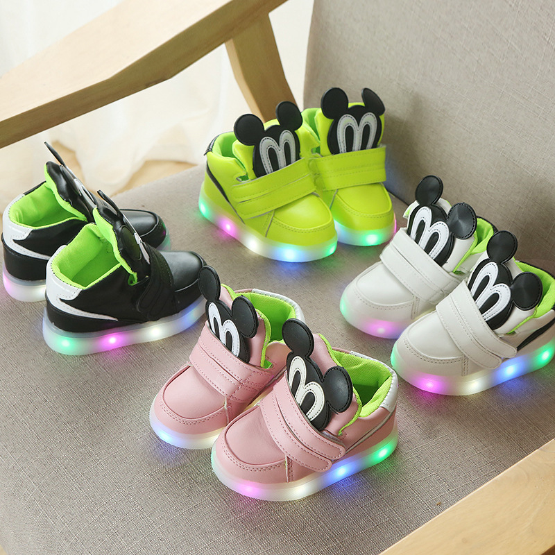 Spring Sneaker Luminous Autumn Child Slight Shoes High Female Child Shoes Baby First Walker Boy Trainer Girl Tenis With Light