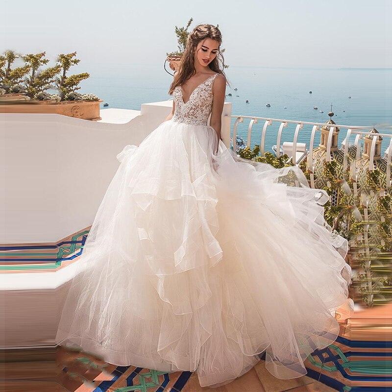 Verngo Aline Wedding Dress Appliques Organza Wedding Gowns Tiered Elegant Bride Dress 2020 Abito Da Sposa
