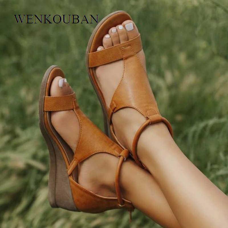 2020 Phụ Nữ Mùa Hè Giày Sandal Giữa Gót Giày Đế Xuồng Nữ Vintage PU Dây Kéo Retro Sandal Nữ Hở Ngón Thời Trang Giày