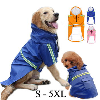 PU Raincoat Waterproof Dog Coat Rain Poncho Jacket with Reflective Strip Hoodie Clothes Large Dogs Labrador image