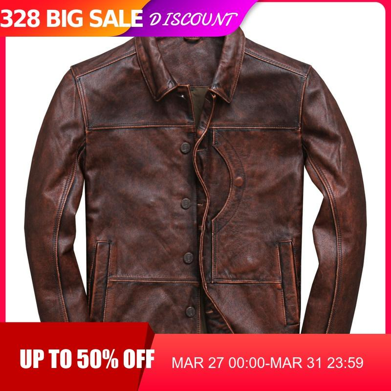 2020 Vintage Brown Men Smart Casual Leather Jacket Single Breasted Plus Size XXXL Genuine Cowhide Russian Coat FREE SHIPPING