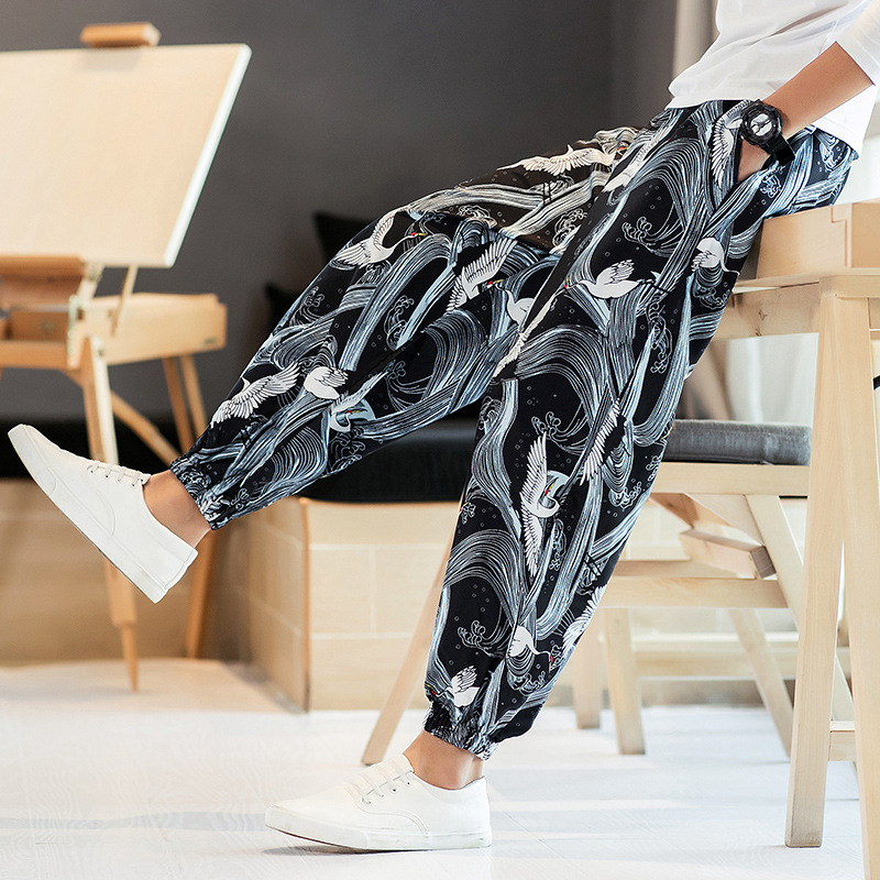 Cotton Linen New Style 2018 Spring And Autumn Men's Fancy Lantern Ankle Banded Pants Chinese-style Ethnic-Style Plus-sized Casua