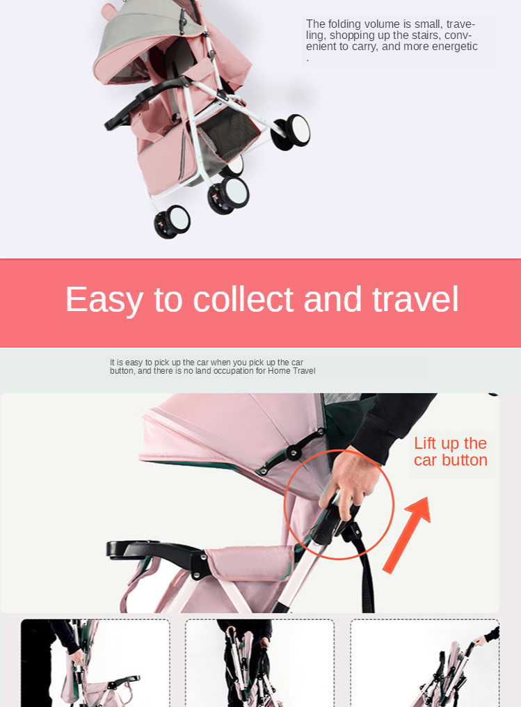 Baby Stroller Bidirectional Ultralight Portable Folding Can Sit Reclining Umbrella Car Shock Absorber Small Baby Simple Trolley