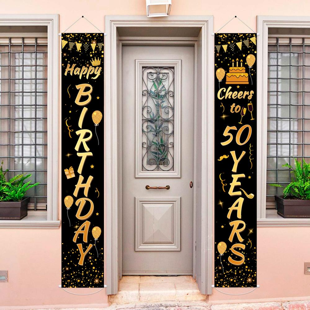 Black Gold Birthday Banner Happy 30th 40th 50th Birthday Party Decor Adult 30 40 50 Year Birthday Party Supplies Anniversary