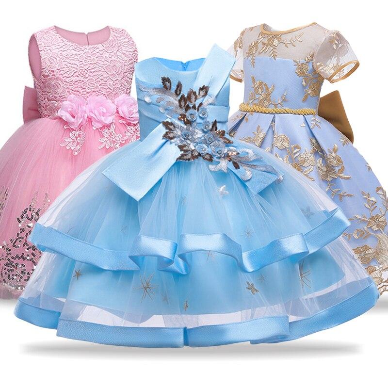 Meninas de flor vestido para o casamento e vestido de festa crianças traje vestidos para meninas vestido de princesa 4 5 6 7 8 10 ano