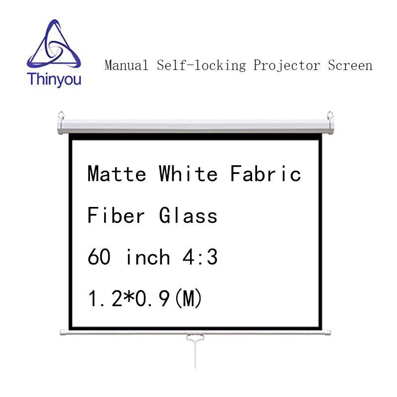 Écran de projecteur à verrouillage automatique manuel Thinyou 60 pouces 4:3 en Fiber de verre tissu blanc mat pour écran de projection HD