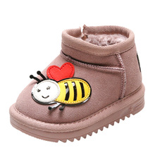 Little Bee Heart Cow Leather Baby Girl Snow Boots Boy Fashion Shoes Kid Winter First Walkers Prewalkers High Quality Thick Plush