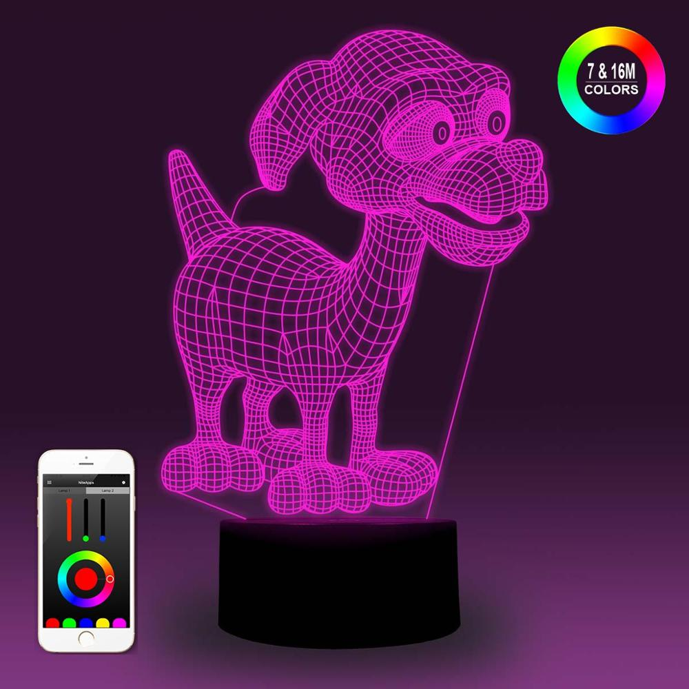 NiteApps 3D Cartoon Doggie Night Light Desk Table Illusion Decoration Lamp Holiday Birthday Gift APP/Touch Control