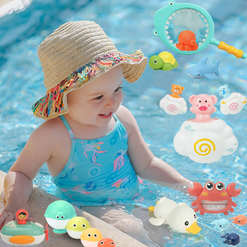 Baby Bath Clockwork Duck Whale Beach Sands Water Toys For Juguetes Cute Cartoon Animals Toys For Kids Parent-child Playing Water
