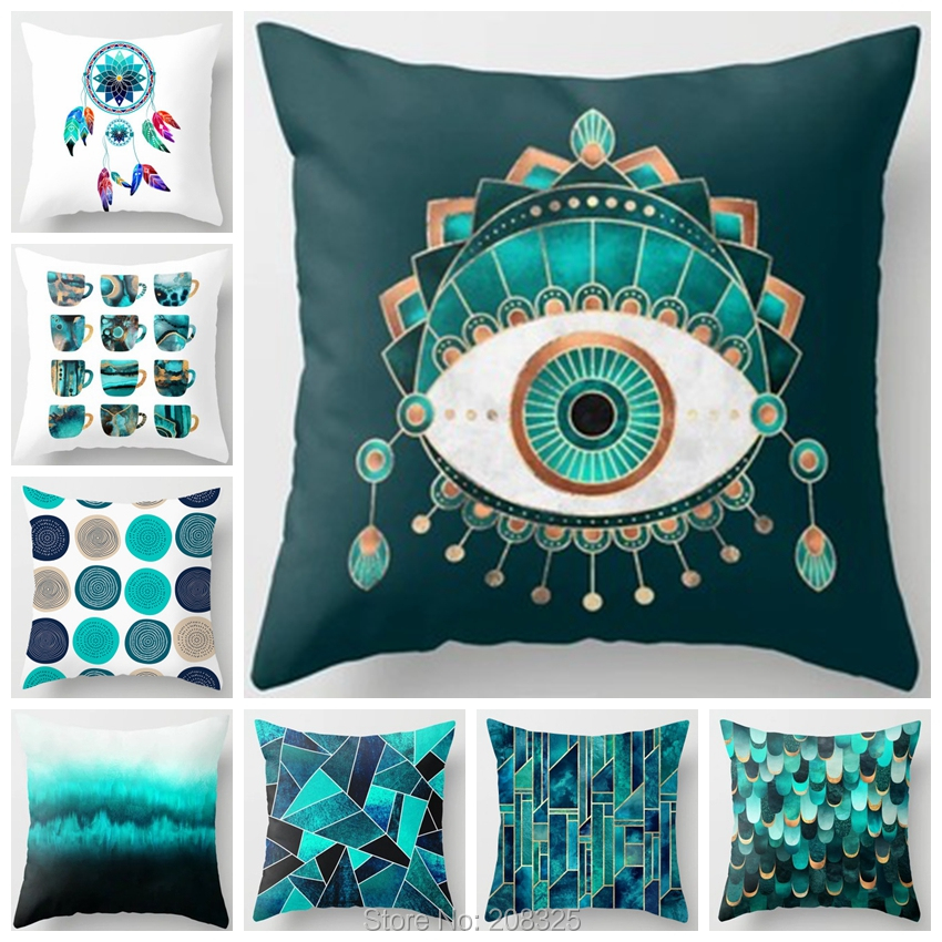 ZENGIA Tiffanyco Cushion Cover 45x45 Green Geometric Pillow Cover Nordic Throw Pillows For Living Room Home Decoration Sofa Car